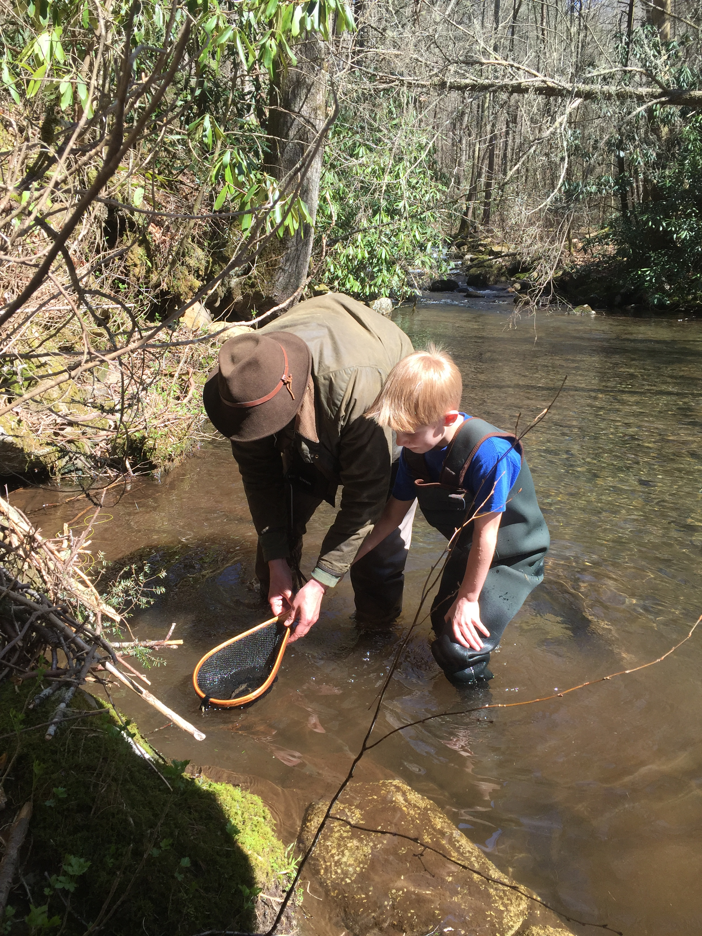 Me & B Landing a Wild Brook Trout
